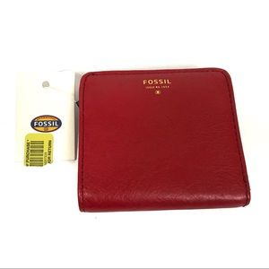 New with tags fossil red leather wallet